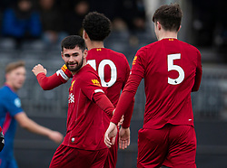 LIVERPOOL, ENGLAND - Monday, February 24, 2020: Liverpool's Joe Hardy celebrates scoring the third goal during the Premier League Cup Group F match between Liverpool FC Under-23's and AFC Sunderland Under-23's at the Liverpool Academy. (Pic by David Rawcliffe/Propaganda)