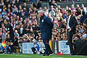 Aston Villa manager Steve Bruce barks out his orders whilst Fulham First Team Head Coach Slavisa Jokanovic looks on during the EFL Sky Bet Championship match between Fulham and Aston Villa at Craven Cottage, London, England on 17 April 2017. Photo by Jon Bromley.