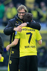 01.03.2014, Signal Iduna Park, Dortmund, GER, 1. FBL, Borussia Dortmund vs 1. FC Nuernberg, 23. Runde, im Bild Trainer Juergen Klopp (Borussia Dortmund) mit Jonas Hofmann (Borussia Dortmund #7), Emotion, Freude, Glueck, Positiv // during the German Bundesliga 23th round match between Borussia Dortmund and 1. FC Nuernberg at the Signal Iduna Park in Dortmund, Germany on 2014/03/01. EXPA Pictures © 2014, PhotoCredit: EXPA/ Eibner-Pressefoto/ Schueler<br /> <br /> *****ATTENTION - OUT of GER*****