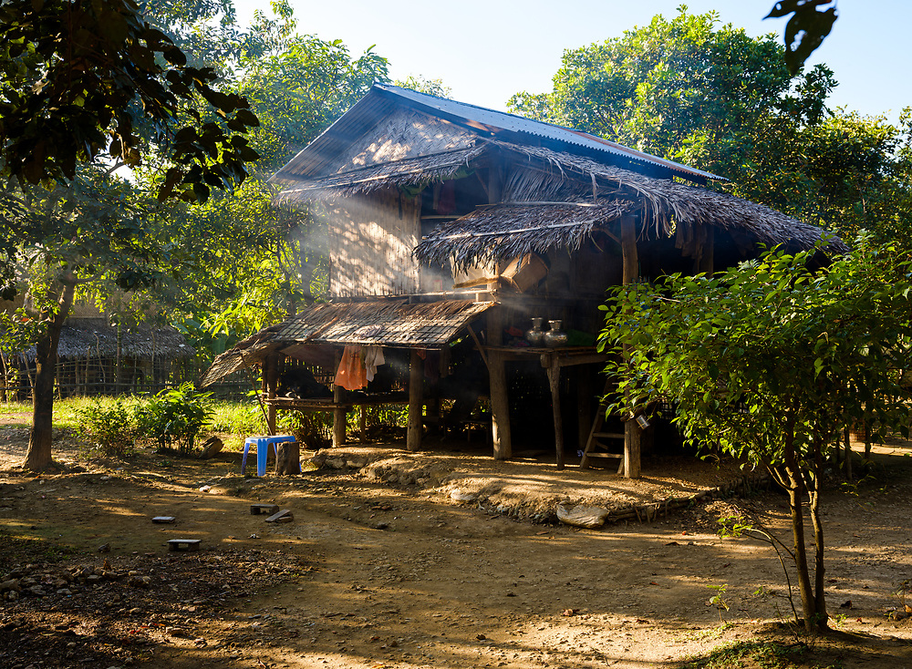 MRAUK U, MYANMAR - CIRCA DECEMBER 2017: Typical home in a Village close to Mrauk U in Myanmar