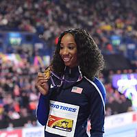 USA's Kendra Harrison wins gold at the IAAF World Indoor Championships, March 3, 2018