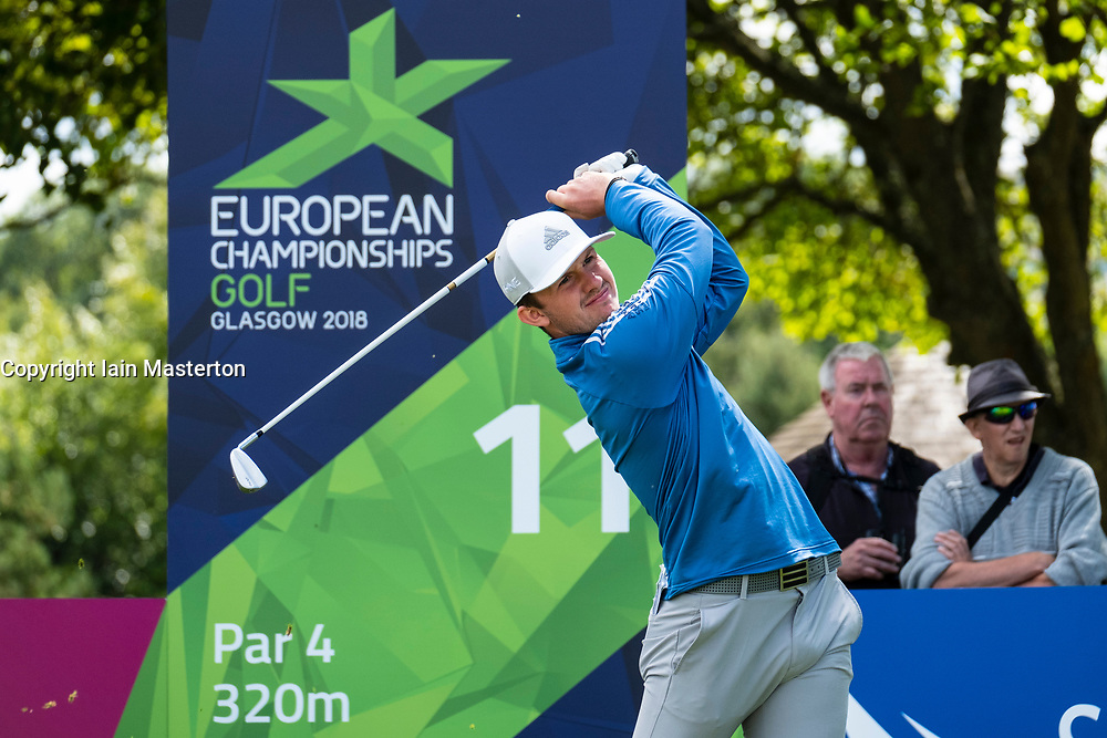 Gleneagles, Scotland, UK; 9 August, 2018.  Day two of European Championships 2018 competition at Gleneagles. Men's and Women's Team Championships Round Robin Group Stage - 2nd Round. Four Ball Match Play format. Connor Syme of team GB tees off on the 11th hole