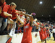"Mississippi's Terrence Henry celebrates followaing a game vs. Memphis in NIT second round basketball action at the C.M. ""Tad"" Smith Coliseum in Oxford, Miss. on Friday, March 19, 2010. Ole Miss won 90-81."