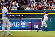 May 23, 2014; Detroit, MI, USA; Texas Rangers left fielder Shin-Soo Choo (17) makes a catch against the Detroit Tigers at Comerica Park. Mandatory Credit: Rick Osentoski-USA TODAY Sports