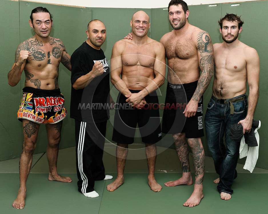 (L to R) Quentin Chong, Gil Martinez, Randy Couture, Neil Melanson and Ryan Couture are pictured after a pre-fight training session at Straight Blast Gym ahead of UFC 105 in Manchester, England on November 12, 2009.