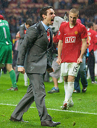 MOSCOW, RUSSIA - Wednesday, May 21, 2008: Manchester United's Gary Neville celebrates after beating Chelsea on sudden death penalties during the UEFA Champions League Final at the Luzhniki Stadium. (Photo by David Rawcliffe/Propaganda)