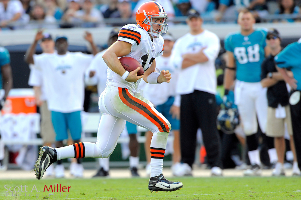 Cleveland Browns quarterback Colt McCoy (12) runs upfield during the Browns 24-20 loss to the Jacksonville Jaguars at EverBank Field on Nov. 21, 2010 in Jacksonville, Florida. ..©2010 Scott A. Miller