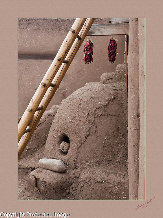 Mud oven with peppers and ladder, Taos, New Mexico