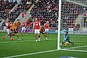 Wolverhampton Wanderers midfielder James Henry scores to go 1-0 up during the Sky Bet Championship match between Rotherham United and Wolverhampton Wanderers at the New York Stadium, Rotherham, England on 5 December 2015. Photo by Ian Lyall.