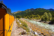 The Durango & Silverton Narrow Gauge Railroad on the Animas River, San Juan National Forest, Colorado USA
