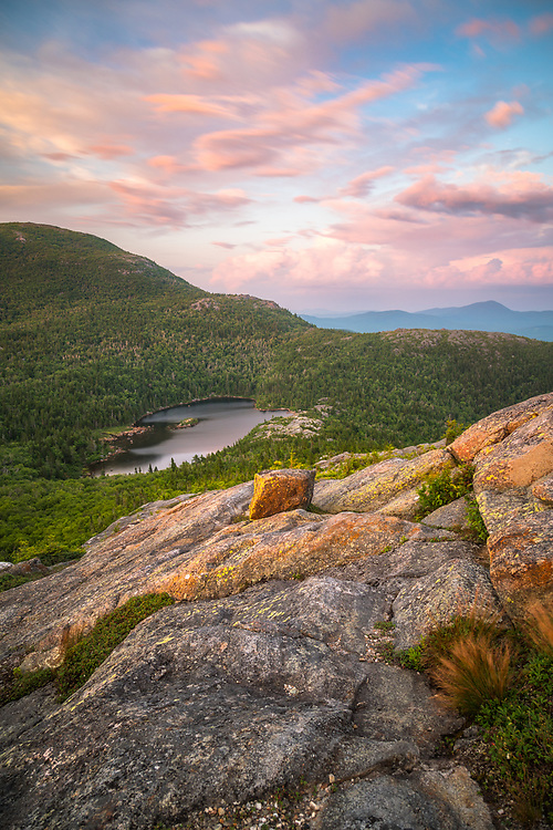 An afternoon hike up Tumbledown Mountain in Maine led to this beautiful view of the pond under a stunning summer sky.
