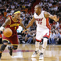 24 January 2012: Cleveland Cavaliers shooting guard Daniel Gibson (1) drives past Miami Heat small forward James Jones (22) during the Miami Heat 92-85 victory over the Cleveland Cavaliers at the AmericanAirlines Arena, Miami, Florida, USA.