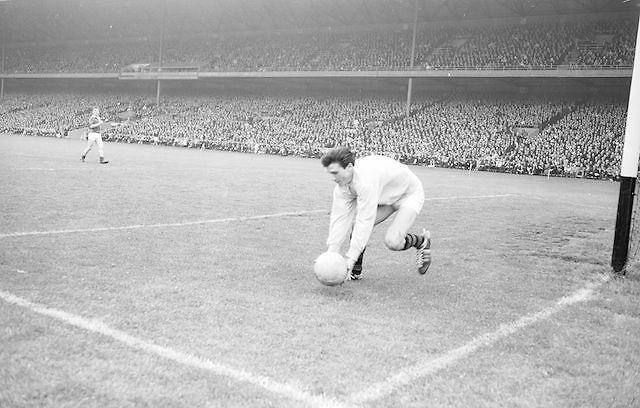 Goalie kicks ball out during the All Ireland Minor Gaelic Football Final Mayo v. Down in Croke Park on the 25th September 1966.