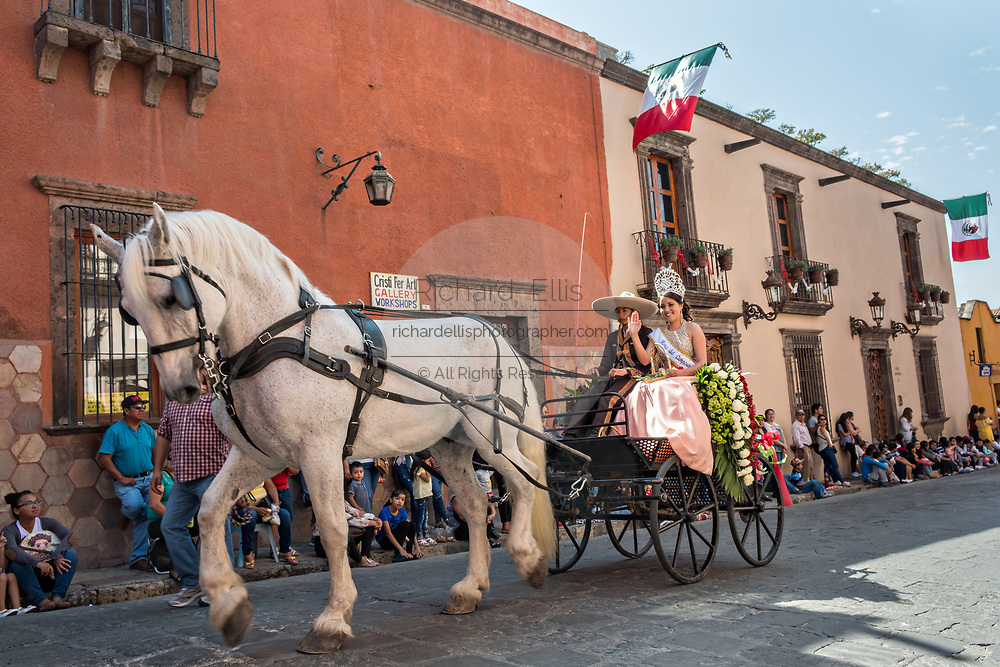 Costumed characters parade through the historic district during Mexican Independence Day celebrations September 16, 2017 in San Miguel de Allende, Mexico.