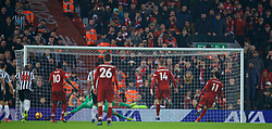 LIVERPOOL, ENGLAND - Boxing Day, Wednesday, December 26, 2018: Liverpool's Mohamed Salah scores the second goal, from a penalty kick, past Newcastle United's goalkeeper Martin Dúbravka during the FA Premier League match between Liverpool FC and Newcastle United FC at Anfield. (Pic by David Rawcliffe/Propaganda)