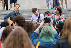 Trafalgar Square, London, July 22nd 2016. International Busking Day is launched in London by Mayor Sadiq Khan together with Jessie Ware, Tinchy Strider, Irish band Keywest and The Vamps. PICTURED: The Vamps perform on the steps of Trafalgar Square.<br /> <br /> <br /> &copy;Paul Davey<br /> FOR LICENCING CONTACT: Paul Davey +44 (0) 7966 016 296 or 020 8969 6875 paul@pauldaveycreative.co.uk