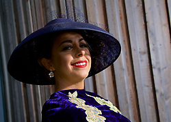LIVERPOOL, ENGLAND - Thursday, April 6, 2017: Jennifer Lavery, 31 from Liverpool, wearing a dress from Rose's Closet in Ireland and hat from Mairead Millenary, during The Opening Day on Day One of the Aintree Grand National Festival 2017 at Aintree Racecourse. (Pic by David Rawcliffe/Propaganda)