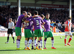 Bristol City's Joe Bryan celebrates with team mates  - Photo mandatory by-line: Joe Meredith/JMP - Mobile: 07966 386802 - 04/10/2014 - SPORT - Football - Walsall - Bescot Stadium - Walsall v Bristol City - Sky Bet League One