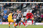 Grimsby Town midfielder Mitch Rose (8) blocks a shot  during the EFL Sky Bet League 2 match between Grimsby Town FC and Port Vale at Blundell Park, Grimsby, United Kingdom on 10 March 2018. Picture by Mick Atkins.