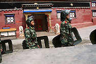 Chinese soldiers in front of the Bakong Monastery, Dege - taken March 20, 2008 - Michael Benanav - 505-579-4046