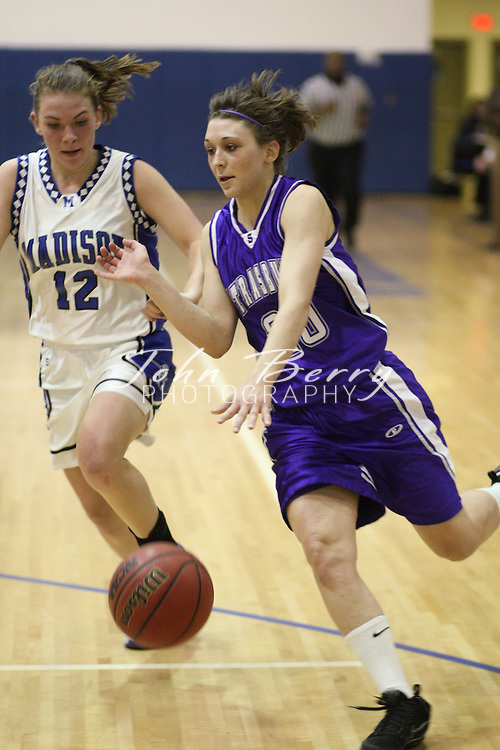 Date:  January/27/10, MCHS Varsity Girls Basketball vs Strasburg Rams, The Girls Varsity Basketball team lost to Strasburg tonight 59-43. Madison was led by Caitlyn Ford with 13 points and Rachel Strahan with 10. Madison falls to 6-12 on the year and 2-3 in the Bull Run District.