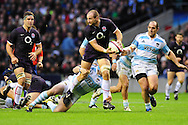 London - Saturday, November 14th 2009: Steve Borthwick of England looks to pass as he is tackled by Manuel Carriza of Argentina during the Investec Challenge Series Game at Twickenham, London. ..(Pic by Alex Broadway/Focus Images)