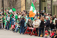 Goshen, New York - Crowds line North Church Street to watch The 40th annual Mid-Hudson St. Patrick's Parade on March 13, 2016.