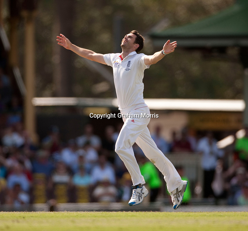 James Anderson celebrates taking the wicket of captain Michael Clarke during the fifth and final Ashes test match between Australia and England at the SCG in Sydney, Australia. Photo: Graham Morris (Tel: +44(0)20 8969 4192 Email: sales@cricketpix.com) 06/01/11