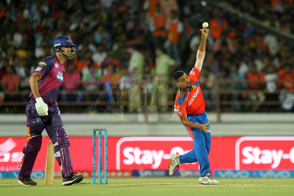 Shadab Jakati of Gujrat Lions bowls during match 6 of the Vivo IPL 2016 ( Indian Premier League ) between the Gujarat Lions and the Rising Pune Supergiants held at Saurashtra Cricket Association Stadium, Rajkot, India on the 14th April 2016Photo by Prashant Bhoot / IPL/ SPORTZPICS