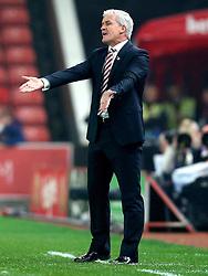 An animated Stoke City manager Mark Hughes, looks frustrated - Mandatory by-line: Robbie Stephenson/JMP - 31/10/2016 - FOOTBALL - Bet365 Stadium - Stoke-on-Trent, England - Stoke City v Swansea City - Premier League