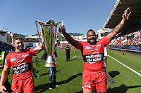Presentation du Trophee aux Supporters/ Mathieu Bastareaud / Leigh Halfpenny - 09.05.2015 - Toulon / Castres  - 24eme journee de Top 14 <br />