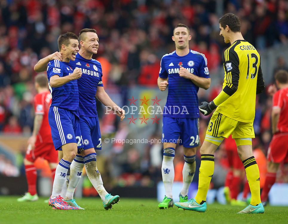 LIVERPOOL, ENGLAND - Saturday, November 8, 2014: Chelsea's captain John Terry celebrates with Cesar Azpilicueta after the 2-1 victory over Liverpool the Premier League match at Anfield. (Pic by David Rawcliffe/Propaganda)