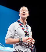 Conservative Party Annual Conference, Manchester Central, Manchester, Great Britain <br /> Day 3<br /> 3rd October 2017 <br /> <br /> <br /> Bear Grylls speaks at conference as <br /> The Chief Scout whose job is to provide inspirational leadership to the Scout Movement in the UK<br /> <br /> <br /> Photograph by Elliott Franks <br /> Image licensed to Elliott Franks Photography Services