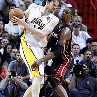 10 March 2011: Miami Heat power forward Chris Bosh (1) defends on Los Angeles Lakers power forward Pau Gasol (16) during the Miami Heat 94-88 victory over the Los Angeles Lakers at the AmericanAirlines Arena, Miami, Florida, USA.