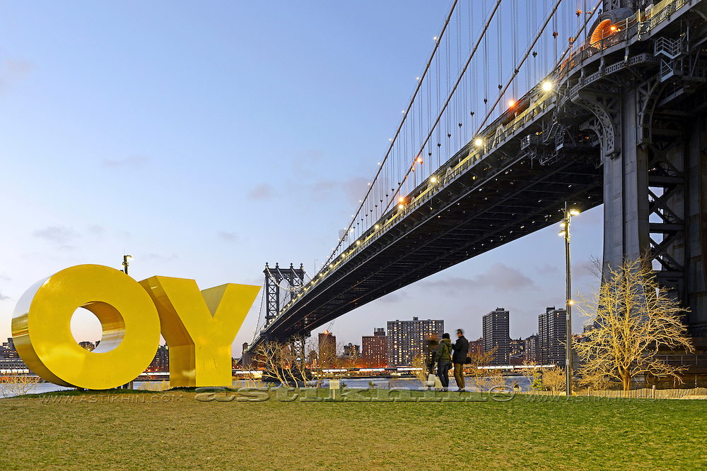 """OY"" and nice view from Brooklyn to Manhattan."