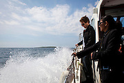 Travelling by boat to the Saltee Islands, off the coast of Co. Wexford, Ireland.