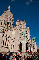 Front of the Sacre Coeur church with blue sky background