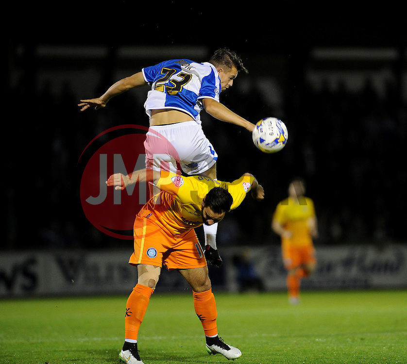 Billy Bodin of Bristol Rovers is challenged by Sam Wood of Wycombe Wanderers - Mandatory byline: Neil Brookman/JMP - 07966 386802 - 06/10/2015 - FOOTBALL - Memorial Stadium - Bristol, England - Bristol Rovers v Wycombe Wanderers - JPT Trophy