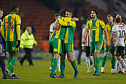 West Bromwich Albion midfielder Gareth Barry (18) and West Bromwich Albion midfielder Jake Livermore (8) celebrate at full time during the EFL Sky Bet Championship match between Sheffield United and West Bromwich Albion at Bramall Lane, Sheffield, England on 14 December 2018.
