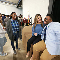 "Brittant Wagner, center, who was made famous in the Netflix series ""Last Chance U"" gets a chance to meet some of the students at Ripley High School following her presentation Wednesday morning."