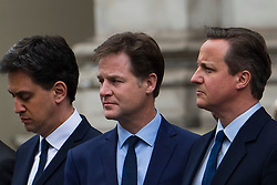 © London News Pictures. 08/05/2015. ED MILIBAND, NICK CLEGG  and DAVID CAMERON attend a VE day ceremony on Whitehall, London on the day David Cameron formed a majority government. Photo credit: Ben Cawthra/LNP