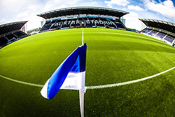 The three stands at The Falkirk Stadium, with the new pitch, for the Scottish Championship game v Hamilton. The woven GreenFields MX synthetic turf and the surface has been specifically designed for football with 50mm tufts compared with the longer 65mm which has been used for mixed football and rugby uses.  It is fully FFA two star compliant and conforms to rules laid out by the SPL and SFL.<br />