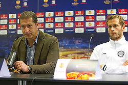 19.10.2011, UPC Arena, Graz, AUT, UEFA Europa League , Pressekonferenz vor dem Spiel Sturm Graz vs RSC Anderlecht, im Bild Franco Foda (SK Puntigamer Sturm Graz, Headcoach) und Juergen Saeumel (SK Puntigamer Sturm Graz) // during Press Conference before the UEFA Europa League football game between Sturm Graz and RSC Anderlecht at UPC Arena in Graz, Austria on 19/10/2011. EXPA Pictures © 2011, PhotoCredit: EXPA/ E. Scheriau