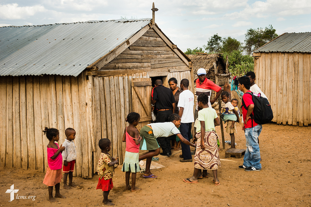 Congregation members gather at a Fiangonana Loterana Malagasy (FLM, Malagasy Lutheran Church) church on Monday, Oct. 20, 2014, near Ambovombe in southern Madagascar. LCMS Communications/Erik M. Lunsford