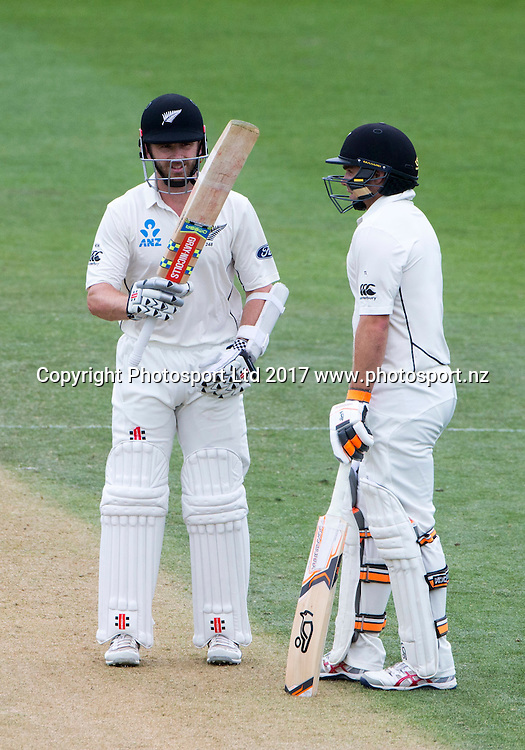 New Zealand's captain Kane Williamson celebrates his 50. New Zealand Blackcaps v Bangladesh, ANZ International Cricket, Day 3 of the 1st test, Basin Reserve, Wellington, New Zealand. Saturday, 14 January, 2017. Copyright photo: John Cowpland / www.photosport.nz