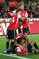13.12.2011, Rhein Energie Stadion, Koeln, GER, 1.FBL, 1. FC Koeln vs Mainz 05, im BildTorjubel/ Jubel nach dem 0:1 durch Sami Allagui (Mainz #9) mit Mario Gavranovic (Mainz #22), Julian Baumgartlinger (Mainz #14) und Jan Kirchhoff (Mainz #15) // during the 1.FBL, 1. FC Koeln vs Mainz 05 on 2011/12/13, Rhein-Energie Stadion, Köln, Germany. EXPA Pictures © 2011, PhotoCredit: EXPA/ nph/ Mueller..***** ATTENTION - OUT OF GER, CRO *****