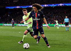 David Luiz of Paris Saint-Germain is put under pressure by Kevin De Bruyne of Manchester City - Mandatory by-line: Robbie Stephenson/JMP - 06/04/2016 - FOOTBALL - Parc des Princes - Paris,  - Paris Saint-Germain v Manchester City - UEFA Champions League Quarter Finals First Leg