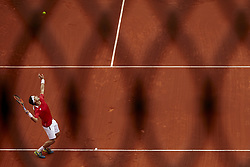 April 8, 2018 - Valencia, Valencia, Spain - David Ferrer of Spain in action in is match against Philipp Kohlschreiber of Germany during day three of the Davis Cup World Group Quarter Finals match between Spain and Germany at Plaza de Toros de Valencia on April 8, 2018 in Valencia, Spain  (Credit Image: © David Aliaga/NurPhoto via ZUMA Press)