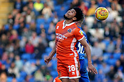Shrewsbury Town midfielder Josh Laurent (28) with a header during the EFL Sky Bet League 1 match between Peterborough United and Shrewsbury Town at London Road, Peterborough, England on 23 February 2019.