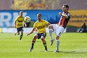 Luton Town's Stephen O'Donnell clears the ball during the Sky Bet League 2 match between Oxford United and Luton Town at the Kassam Stadium, Oxford, England on 16 April 2016. Photo by Shane Healey.